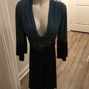 SKY mini dress. Leather waist detail